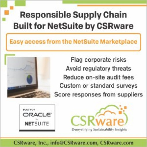 CSRware's Responsible Supply Chain and Conflict Minerals Management Software Achieves 'Built for NetSuite' Status