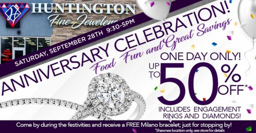 Huntington Fine Jewelers Celebrates First-Year Anniversary of Shawnee Store With 50% Off the Entire Store