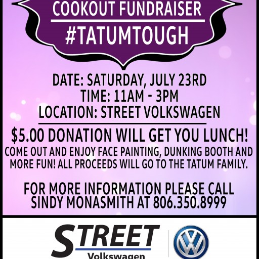 Street Volkswagen of Amarillo Holds Fundraiser at Dealership for Team Tatum of Canyon, Texas