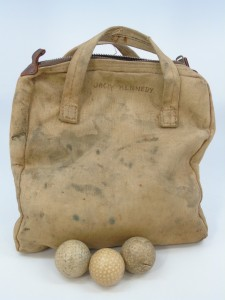 JFK Golf Ball Tote Bag and three balls owned by him.