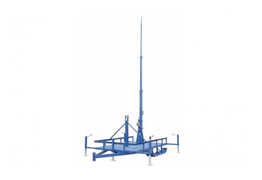 Larson Electronics Releases 20' Ski Trailer Mounted Fold Over 3-Stage Light Mast, Electric Winch, 9' to 20'
