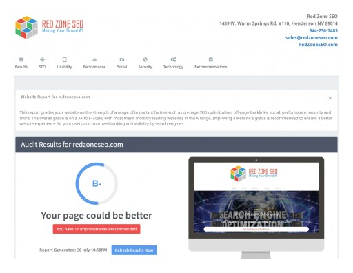 Las Vegas SEO Company Red Zone SEO Introduces Free SEO Review Tool