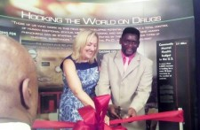 Dr. Linda Lagemann and human rights advocate Gary Thompson cut the ribbon at the CCHR Traveling Exhibit August 10, 2017, at the Sheraton New York Times Square Hotel.