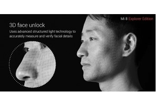 Infrared VCSEL arrays from ams AG enable 3D facial recognition in Xiaomi Mi 8 Explorer Edition smartphones via a structured light process.