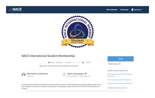 NACE International and the NACE International Institute Launch Digital Credentialing to Member and Certification Holder Community