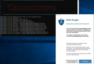 RDS-Knight detects, blocks and quarantines Ransomware on Windows RDS