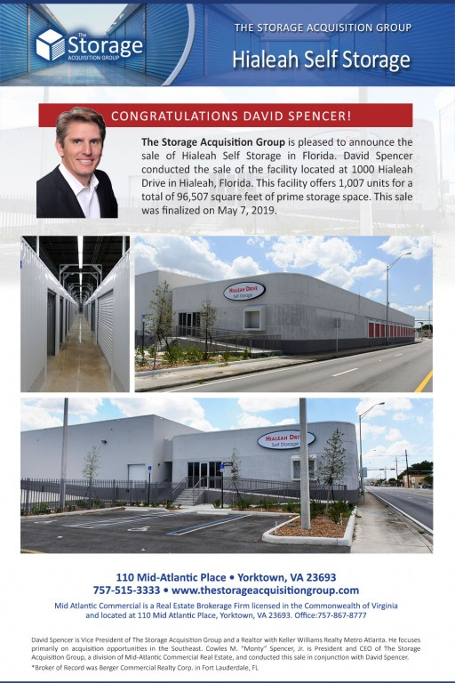 The Storage Acquisition Group Announces the Sale of Hialeah Drive Self Storage in Florida