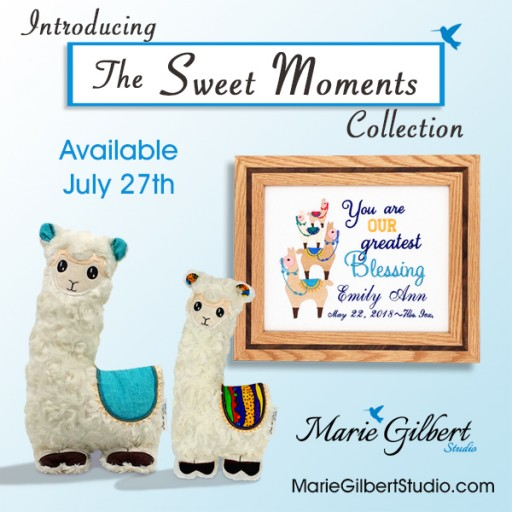 Marie Gilbert Studio Proudly Presents the Sweet Moments Collection, Featuring Custom Embroidered Birth Announcements in Handcrafted Wooden Frames