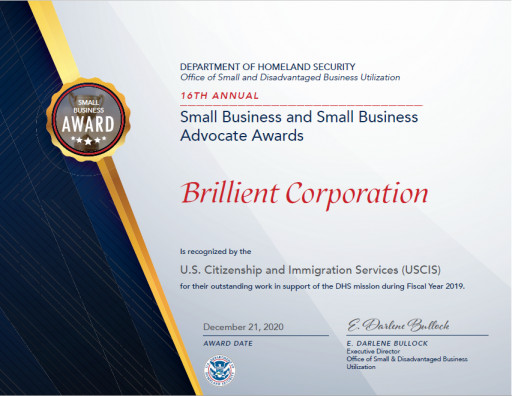 Brillient Earns DHS Small Business Award for the 2nd Time