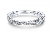 14k white gold criss-cross diamond ring