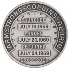 Silver-Plated Apollo 11 Robbins Medal Commemorative, Reverse Side