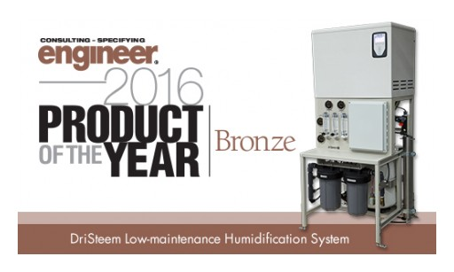 DriSteem's Low-Maintenance Humidification System Wins Consulting-Specifying Engineer 2016 Product of the Year Award