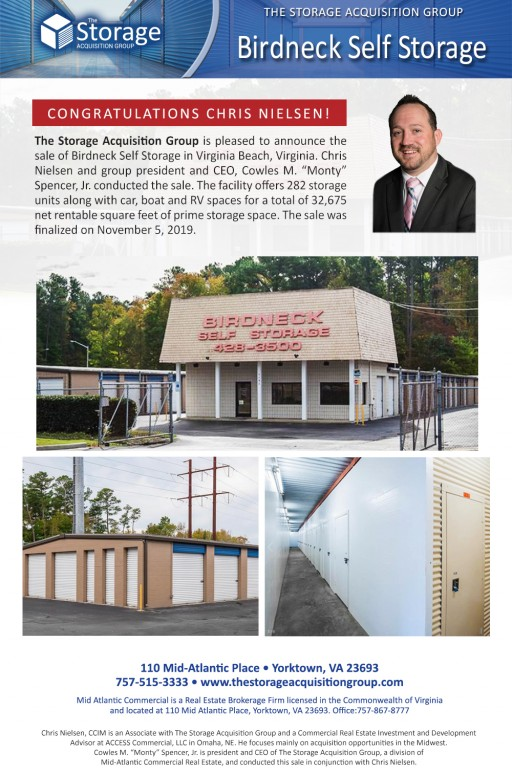 The Storage Acquisition Group Announces the Sale of Birdneck Self Storage in Virginia Beach