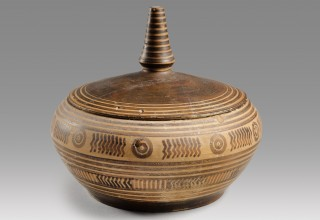 ANCIENT GEOMETRIC GREEK LIDDED PYXIS