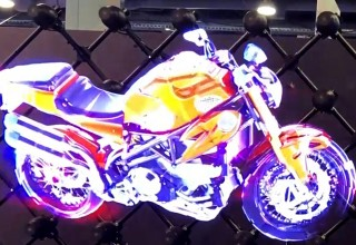Hypervsn 'holographic' Video Wall Motorcycle Floats in Mid-Air