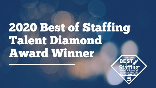 Sparks Group Wins ClearlyRated's 2020 Best of Staffing Talent Diamond Award