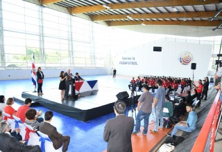 Press conference announcing Costa Rica National Football Federation's Youth for Human Rights campaign