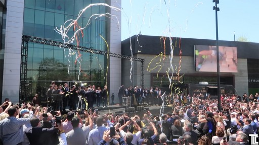 Celebration at the opening of the new Los Angeles soccer stadium