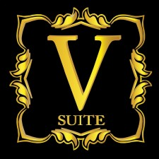 V SUITE logo on black