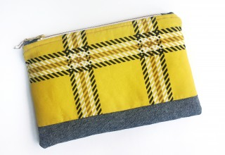 Yellow Tartan Zipper Pouch