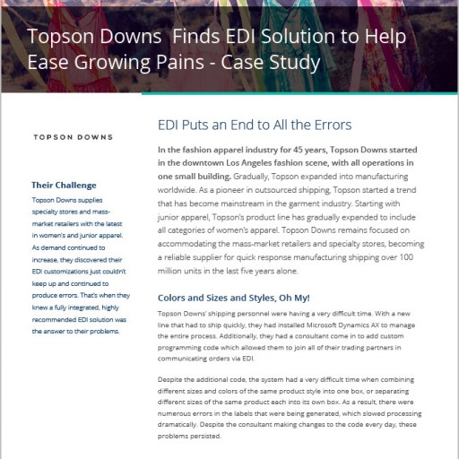 Microsoft Dynamics AX Customer Topson Downs Speeds Processing With Certified EDI Solution From Data Masons