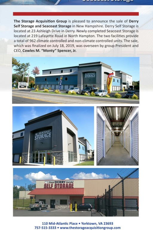 The Storage Acquisition Group Announces the Sale of Derry Self Storage and Seacoast Storage