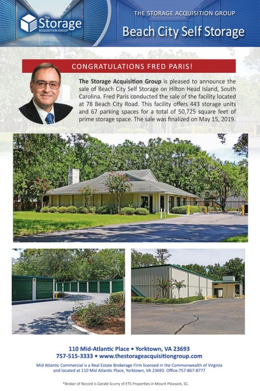 The Storage Acquisition Group Announces the Sale of Beach City Self Storage on Hilton Head Island