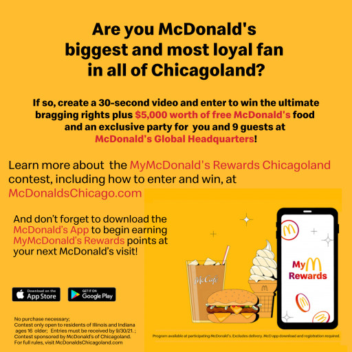 McDonald's Top Fan in Chicagoland Can Win $5,000 Worth of McDonald's; Exclusive Party at Headquarters