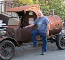 The barbecue pit was a vintage Model-T Ford truck.