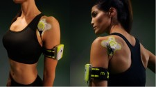 SAM multi-hour continuous wearable ultrasound device applied to the front and back of the shoulder.