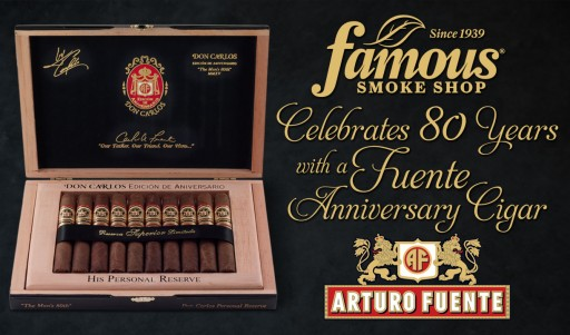 Famous Smoke Shop Announces the Release of Fuente Don Carlos Personal Reserve Famous 80th Anniversary Edition