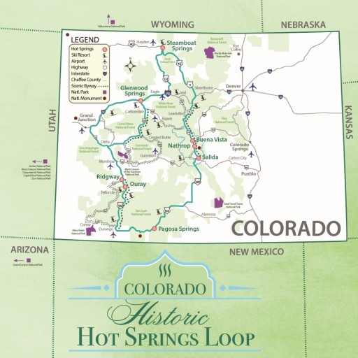 map of the Colorado Historic Hot Springs Loop
