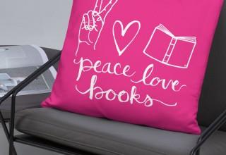"""Peace, Love, Books"" Square Pillow"