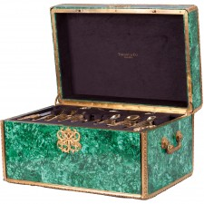 Tiffany and Co Flatware Service in Malachite Chest