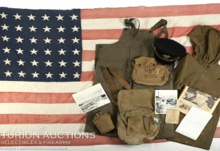 WWII D-DAY FLOWN INVASION FLAG LST 314 & LT. HENRY OAKES ARCHIVE