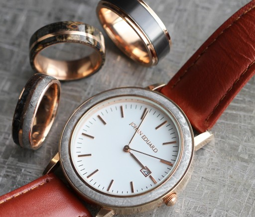 Johan Eduard Meteorite Watch with Rose Gold Case