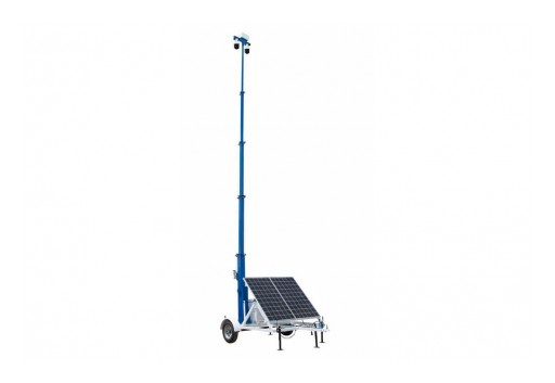 Larson Electronics Releases Solar Security Tower, 20' Tall, 7.5' Trailer, (3) Cameras, (2) 265W Panels