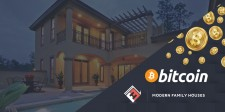 Bitcoin Logo and Modern Family Houses Logo