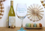 Hand Painted Wine Glass in Carribbean Blue