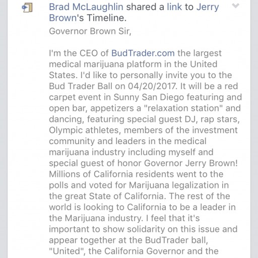BudTrader.com CEO Brad McLaughlin Invites Governor Jerry Brown to Annual 420 Ball
