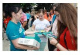 Handing out copies of The Truth About Drugs booklets in Czech