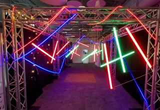 An Event Entrance 'Maze of Light' Puts Guests Into a 'Mission Possible' Themed Event