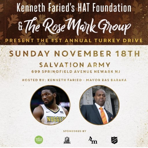 First Annual Newark Turkey Drive With Brooklyn Net Star Kenneth Farried, Mayor Ras Baraka & the RoseMark Group