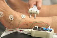 Physical Therapist performing nerve conduction test