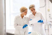 women technologists working at ice cream factory