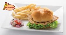 Enjoy a grilled or crispy delicious chicken sandwich at a La Granja restaurant.