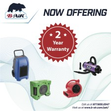 B-Air Two-Year Warranty on Pet and Animal Products and Water Damage Restoration Products
