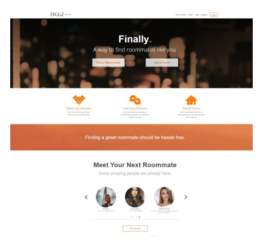 New York City-Based Diggz Rolls Out Its Popular Online Roommate Matching Services Nationwide