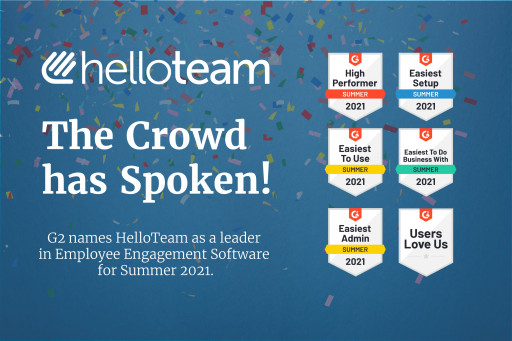 HelloTeam Named Top Employee Engagement Platform by G2