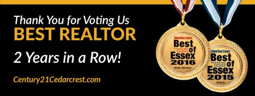 Century 21 Cedarcrest Realty Wins Gold Medal in Real Estate Category in 2016 Best of Essex Awards
